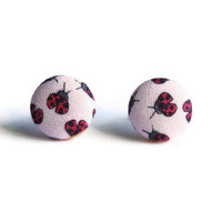 Ladybug on Pink Print Fabric Covered Button Earrings NICKEL FREE