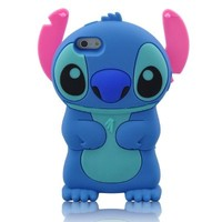 DE Cute 3D Cartoon Animal Series Apple iPhone 5C Case New Blue/Pink 3D Cartoon Stitch Movable Ear Shape Style Soft Silicone Rubber Case Protective Cover for Apple iPhone 5C