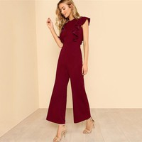 Ruffle Wide Leg Elegant Jumpsuit Office Ladies Workwear Sleeveless High Waist Plain Women Jumpsuit