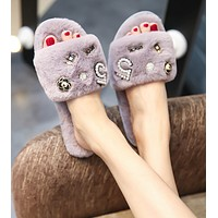 Plush shoes flat bottomed plush slippers for home and outdoor wear