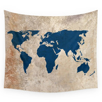 Society6 Rustic World Map Wall Tapestry