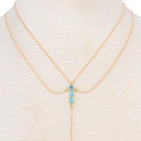 Y Necklace with Turquoise Stone Horn Pendant