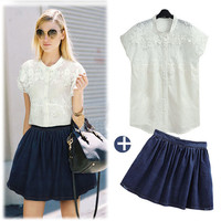 White Floral Lace Cap Sleeve Top and Blue Pleated Skater Skirt