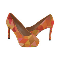 Autumn Colored Triangles Orange Women's High Heels (Model 044) | ID: D1839501