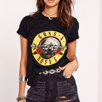 Missguided - Guns N Roses Slogan T-Shirt Black