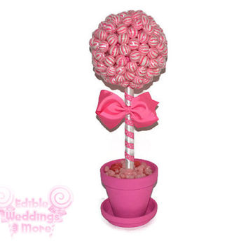 Pink Lollipop Topiary, Pink Candy Topiary, Pink Wedding Centerpiece, Pink, Wedding, Centerpiece, Candy Buffet, Lollipop, Candy, Pink Wedding