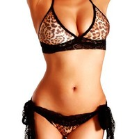Cloris Murphy Sexy Bi-Color Lingerie Lace Halter Top & Scrunch Butt Bottom Bikini Swimwear w/ Black Lace side ties BN203 One Size (Leopard)