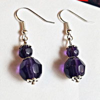 crystal glass bead purple earrings bead drop dangles