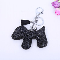 2015 Fashion Rhinestone cute Dog shape 4 colors leather tassel key chain Charm Pendant Crystal Purse Bag women Key Chain Gift