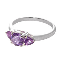 Sterling Silver 1ct Amethyst Three Stone Genuine Gemstone Ring