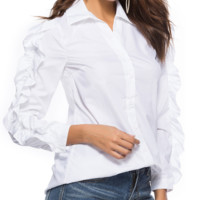 Early spring solid color women's shirt fashion OL wind wooden ear long sleeve lapel shirt blouse