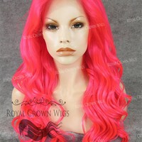 24 inch Synthetic Lace Front with Curly Texture in Hot Pink