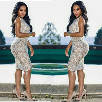 Women Sexy Lace Crochet Dress 2016 Hollow Out See Through White Bandage Dress Party Nigth Club Dresses Summer Sundresses Robe