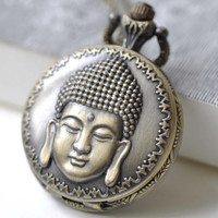 1 PC Antique Bronze Buddha Head Religious Pocket Watch Necklace CHAIN INCLUDED 38x38mm A7973