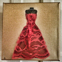 Maiden in Red with Gold - Beautiful Women Canvas Art