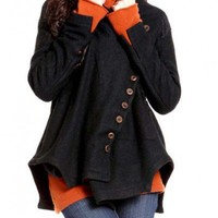 Black Casual Irregular Sweep Multi-buttons Woolen Coat- NC195