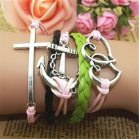 MagicPieces Anchor Cross Hearts Braid 5 Layers Pink and Green Handmade MultiLayered Bracelet For Women's Teens Friendship Birthday Gift