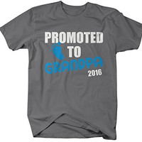 Shirts By Sarah Men's Promoted To Grandpa Gift 2016 T-Shirt Fathers Day Shirt