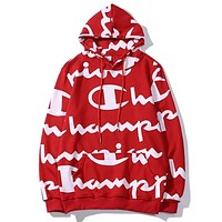 Champion New fashion more letter print coupel hooded long sleeve sweater top Red