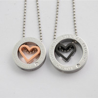 2014 fashion rose gold black lovers 316L stainless steel couple rhinestone love heart circle pendant necklace jewelry SP0316