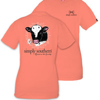 Simply Southern YOUTH Cow Cutie Tee - Poppy