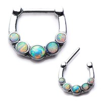 1pcs/lot 316L Surgical Steel Purple Round Opal Septum Clickers Nose Hoops Septum Nose Ring Bling 16g Body Septum Piercing