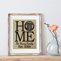 Personalized HOME Military Print | Wall Decor | White Walls | Military Retirement Gift | Personalized Burlap Print | Housewarming Gift