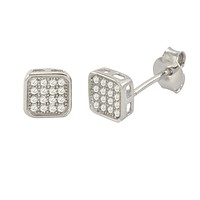 925 Sterling Silver Square Stud Earrings White Pave Cubic Zirconia CZ 6mm
