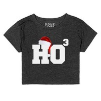 Half Tiger Crop Top Ho Ho Ho Merry Christmas-Heather Onyx T-Shirt