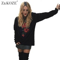 Z&KOZE New Fashion Rose Floral Embroidery Women Sweatshirts Autumn Long Sleeve Casual female Hoody Vintage Applique Top Hoodies