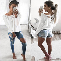 Hot Popular Women Casual Backless Long Sleeve Round Necked Sexy Erotic  Top T-Shirt _ 10295