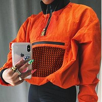 Orange Mesh Pocket Pullover