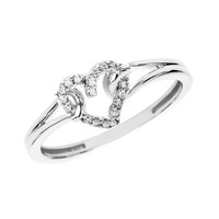 Diamond Accent Looped Heart Promise Ring in 10K White Gold