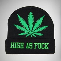 High as Fuck Black & Green Beanie