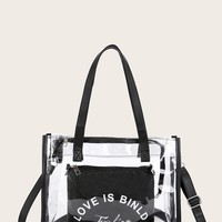 Love Is Blind Letter Print Clear Tote Bag With Inner Pouch