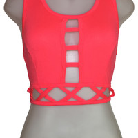 Neon Pink X Out Crop Top