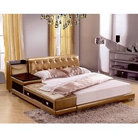 Modern Leather Bed With Storage Box and Side Board