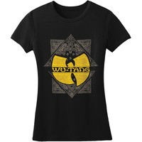 Wu Tang Clan  Jr Paisley Square Logo Tissue T Junior Top Black