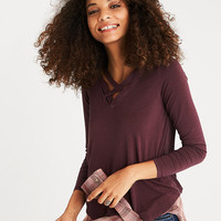 AEO Soft & Sexy Wide-Strap Cage-Front T-Shirt, Burgundy