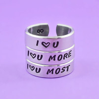 I Love You / I Love You More / I Love You Most - Hand Stamped Rings Set, Mother Daughter Sisters Lovers Ring, Personalized Ring Gift