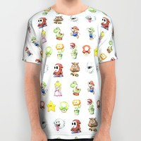 Mario Characters in Watercolor  All Over Print Shirt by Olechka