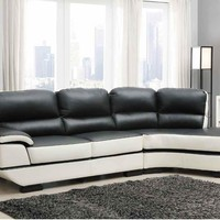 A.M.B. Furniture & Design :: Living room furniture :: Sofas and Sets :: Leather sectionals :: 2 pc Hanlon Collection modern styling chocolate and white bonded leather sectional sofa set with rounded end chaise