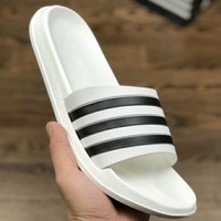 Adidas Original Adilette Stripe Series Indoor Non-slip Soft Slippers F-A0-HXYDXPF white