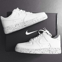 NIKE AIR Force 1 Women Men Trending Leisure Sneskers White Shoes Dots Soles B-CSXY  White