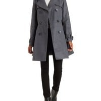 Charcoal Belted Wool Trench Coat by Charlotte Russe