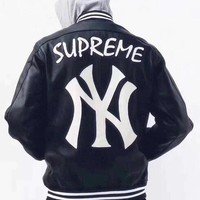 Supreme X NY Popular Men Women Personality Leather Zipper Cardigan Jacket Coat