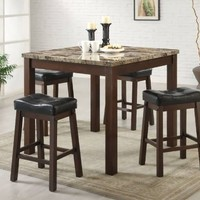 Coaster 5-Piece Dining Set, Faux Marble Table Top  with 4 Barstools, Cherry Frame