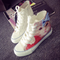 Cute cat bowknot canvas shoes