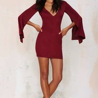Rare London Dust till Dawn Mini Dress - Burgundy