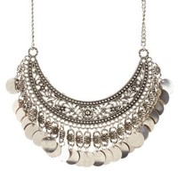 Silver Flower & Coin Crescent Statement Necklace by Charlotte Russe